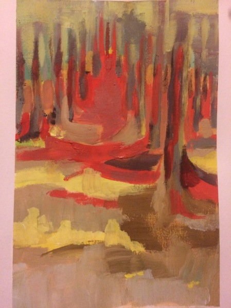 Deirdre's painting of her memory of the forest in reds, yellows and browns.