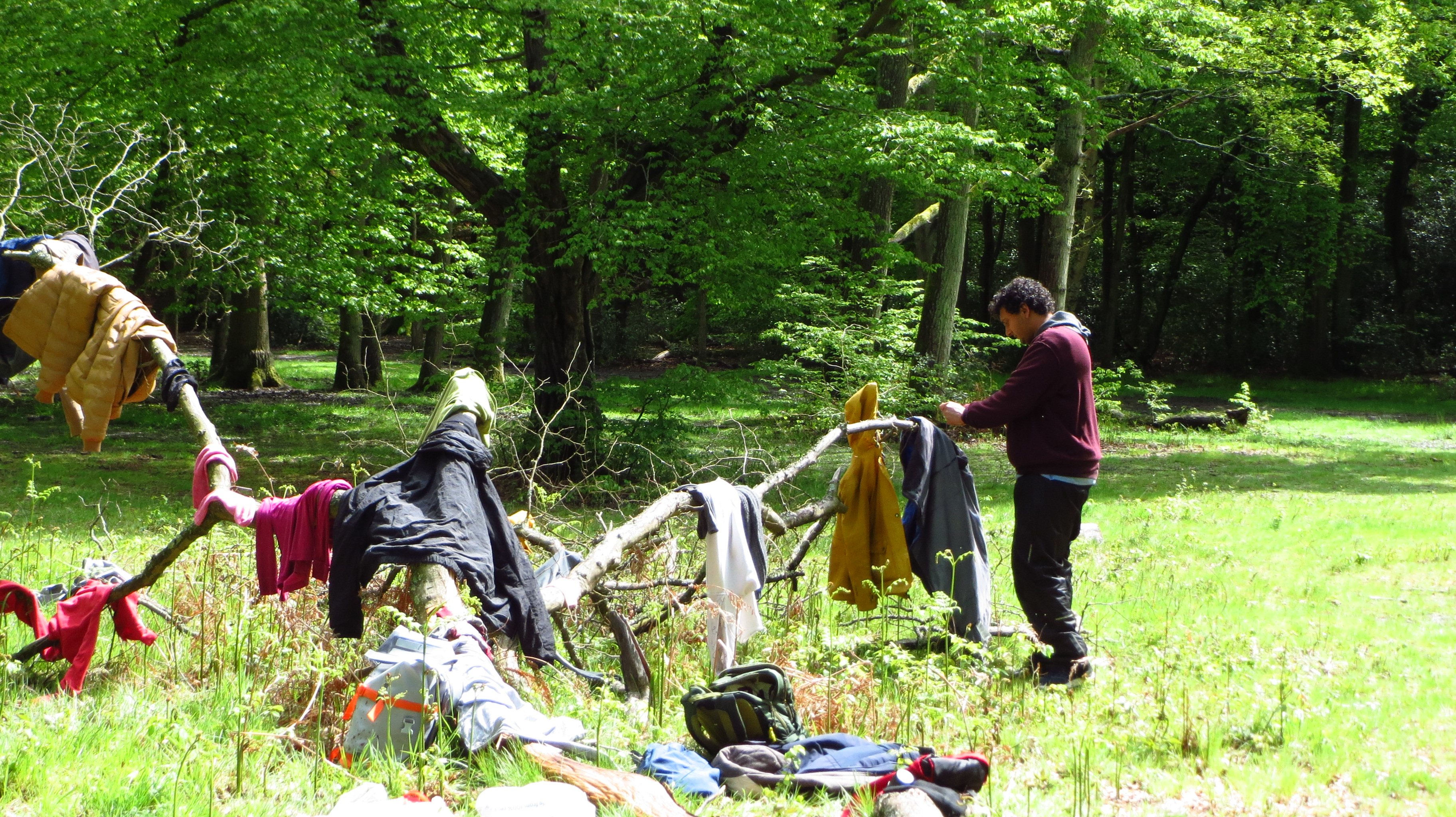 hanging up wet clothes